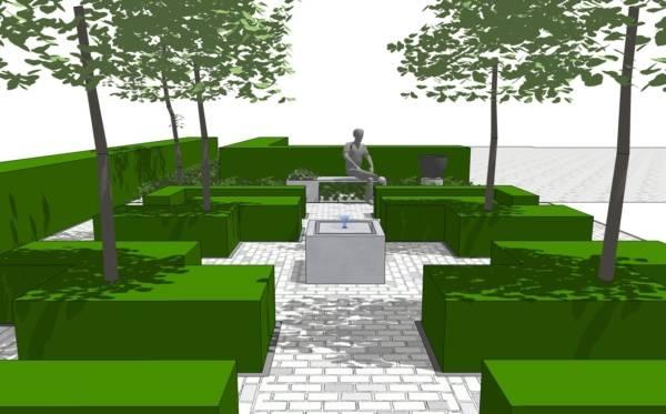 Tuinarchitect van moderne tuinen met vijver
